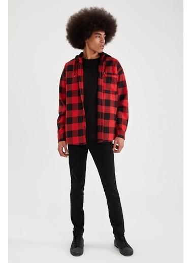 DeFacto Kapüşonlu Ekose Regular Fit Uzun Kollu Gömlek Kırmızı